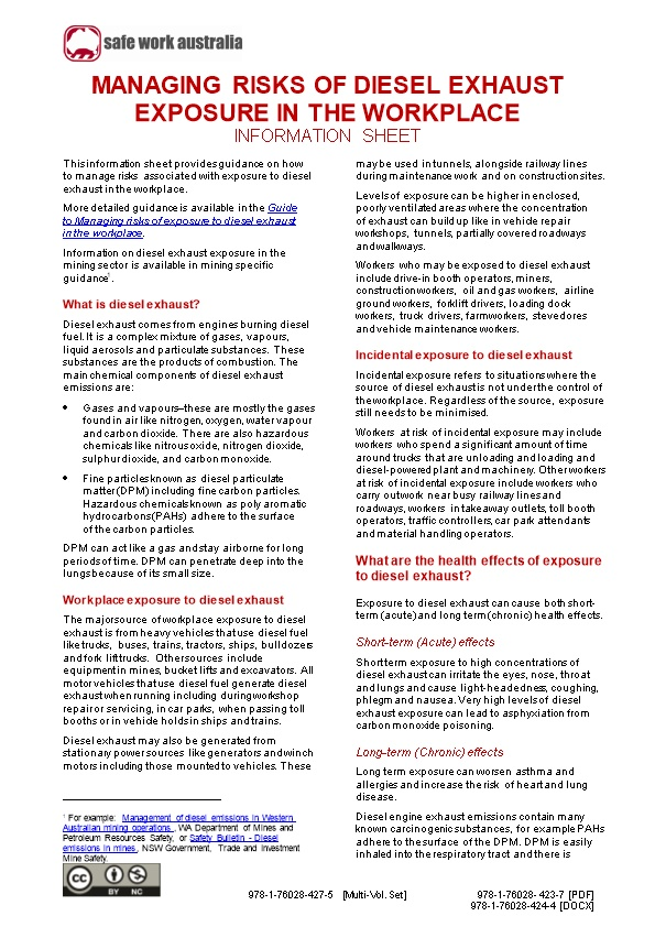 05. Managing Risks of Diesel Exhaust Exposure in the Workplace Information Sheet