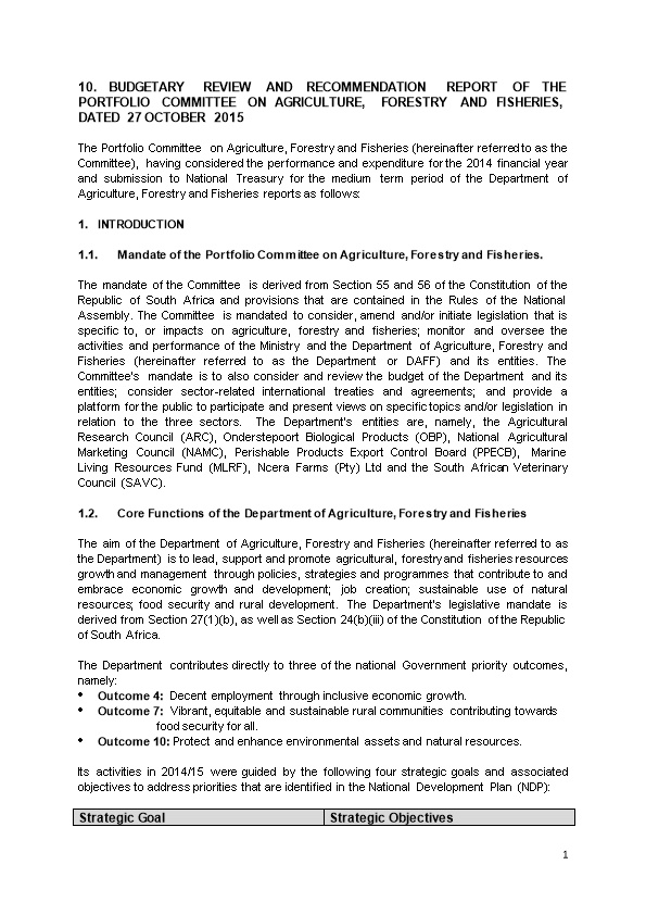1.1. Mandate of the Portfolio Committee on Agriculture, Forestry and Fisheries