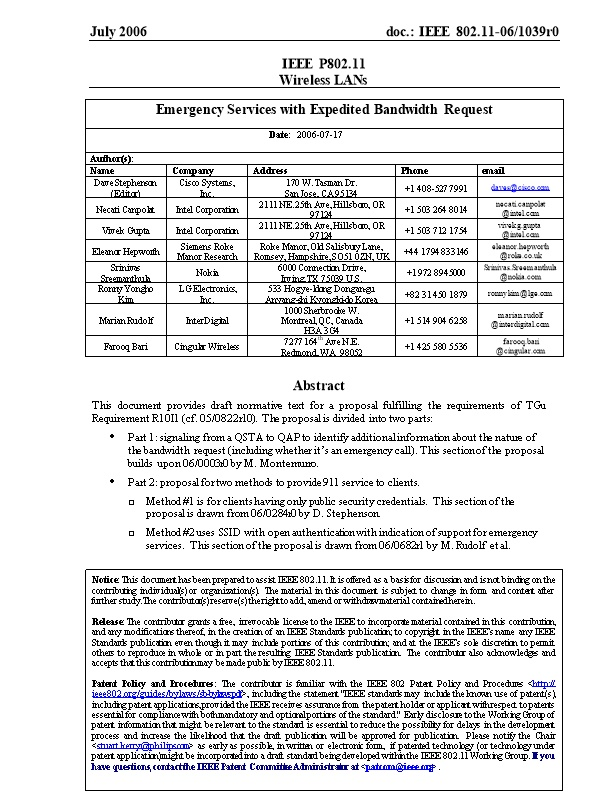 1.1 Requirements in Tgu for Supporting 911 Capability