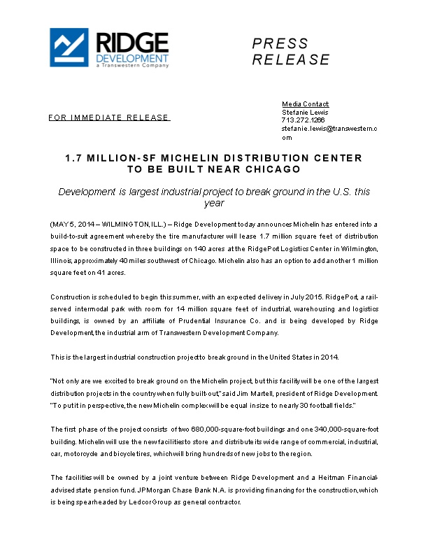 1.7 Million-Sf Michelin Distribution Center to Be Built Near Chicago
