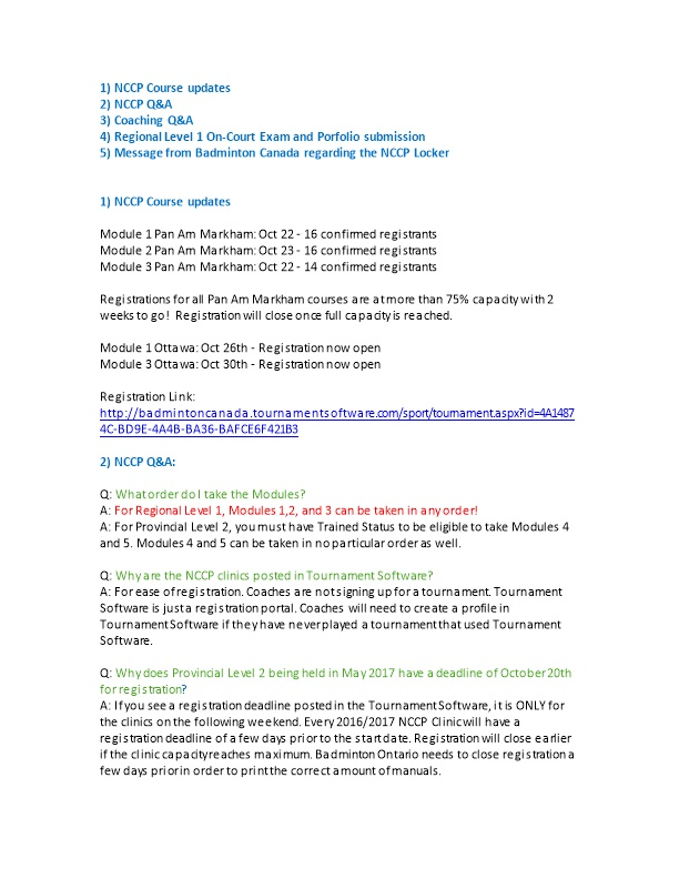 1) NCCP Course Updates