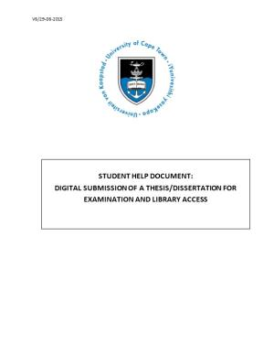 1.Presentation and Submission of a Master S Dissertation/ Phd Thesis