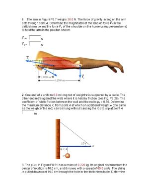 1 the Arm in Figure P8.7 Weighs 36.0 N. the Force of Gravity Acting on the Arm Acts Through