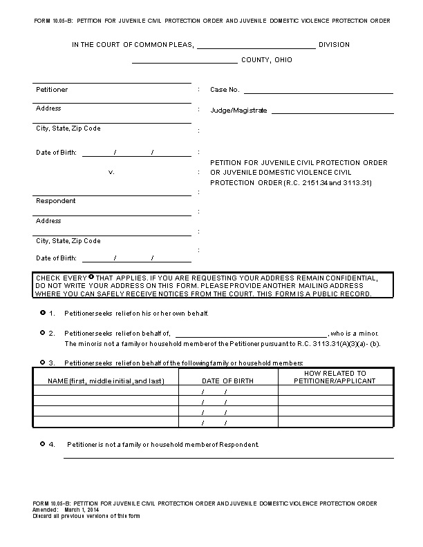 10.01-D Petition for Domestic Violence Civil Protection Order ...
