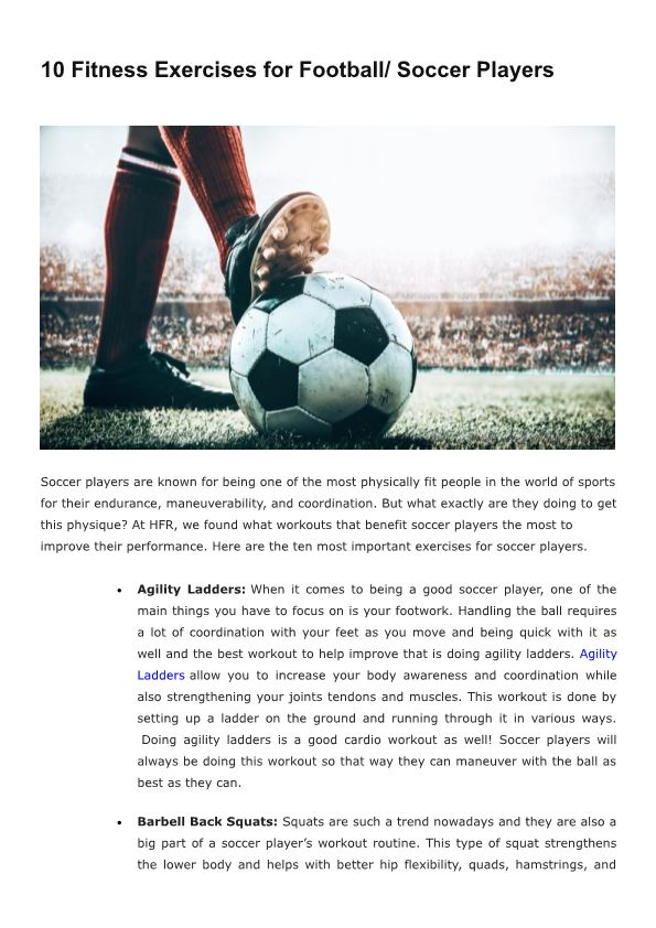 10 Fitness Exercises for Football Soccer Players