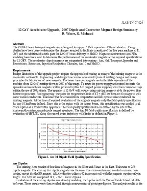 12 Gev Accelerator Upgrade, 2007 Dipole and Corrector Magnet Design Summary