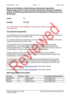 1416 National Certificate in Motor Industry (Automotive Specialist Engineering) (Level