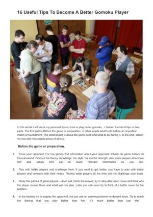 16 Useful Tips to Become a Better Gomoku Player