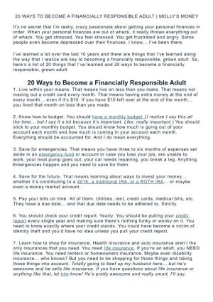 20 Ways To Become A Financially Responsible Adult