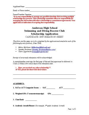 2002-2003 Booster Club Scholarship