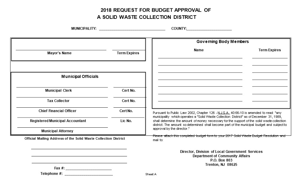 2009 Request for Budget Approval of a Solid Waste Collection District