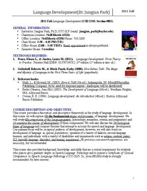 2011 Fall Language Development (CSD 2318: Section #001)