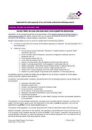 2013 Application for Ethics Approval of Low Risk Research Involving People