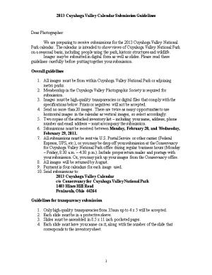 2013 Cuyahoga Valley Calendar Submission Guidelines