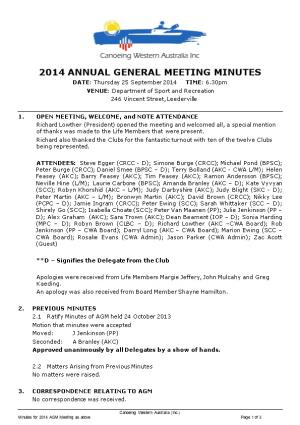 2014 Annual General Meeting Minutes