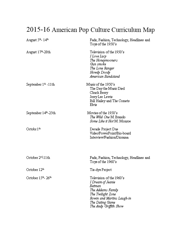 2015-16 American Pop Culture Curriculum Map