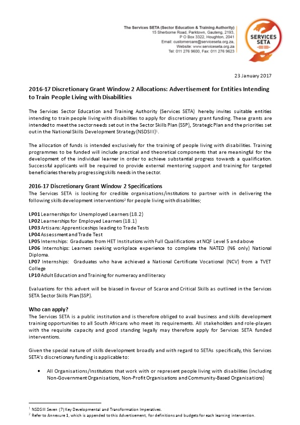 2016-17 Discretionary Grant Window 2 Allocations: Advertisement for Entities Intending