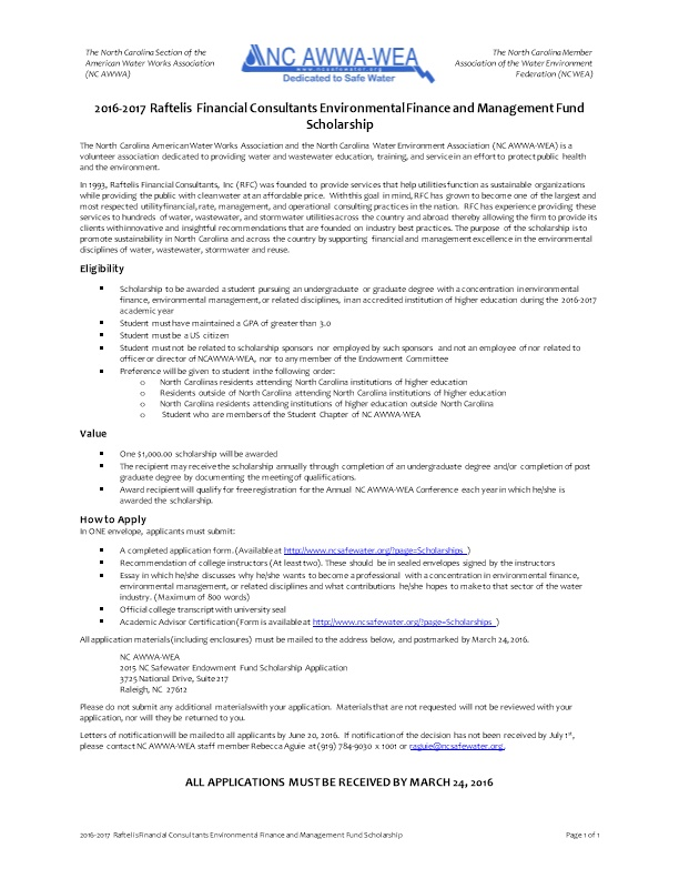 2016-2017 Raftelis Financial Consultants Environmental Finance and Management Fund Scholarship