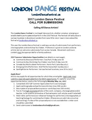 2017 London Dance Festival CALL for SUBMISSIONS