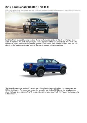 2019 Ford Ranger Raptor This Is It