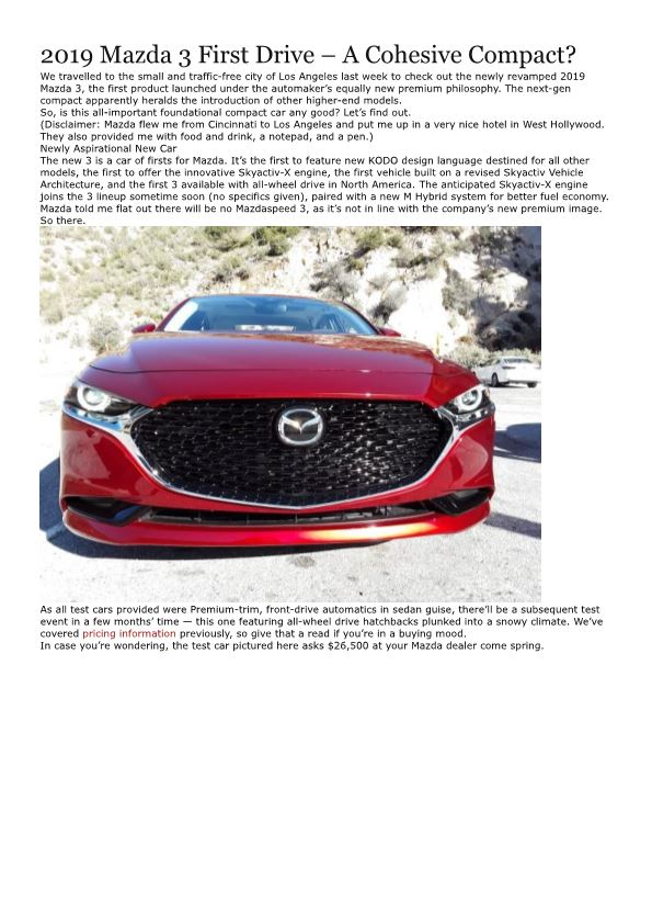 2019 Mazda 3 First Drive – a Cohesive Compact