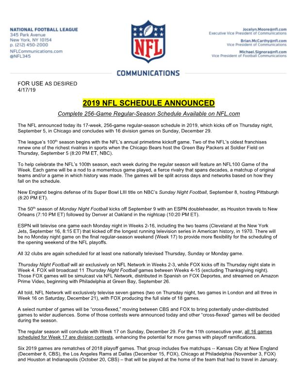2019 Nfl Schedule Announced