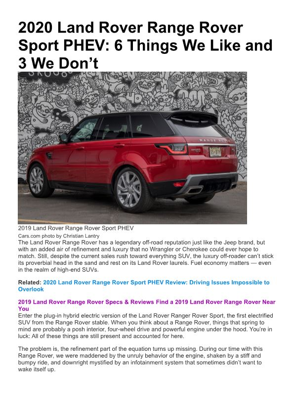 2020 Land Rover Range Rover Sport PHEV: 6 Things We Like and 3 We Don'T