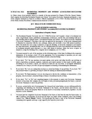 21 Ncac 58A .0114Residential Property and Owners' Association Disclosure Statement