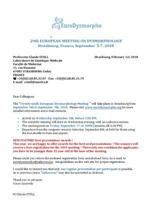 29Th EUROPEAN MEETING on DYSMORPHOLOGY