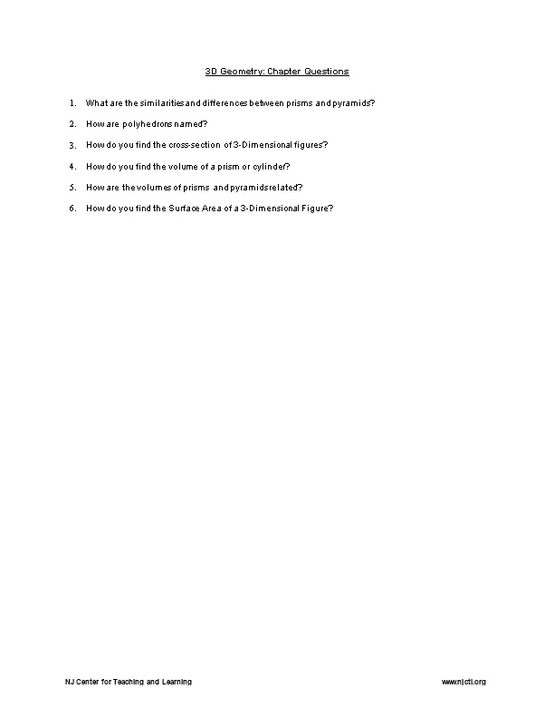 3D Geometry: Chapter Questions