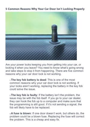 5 Common Reasons Why Your Car Door Isn'T Locking Properly
