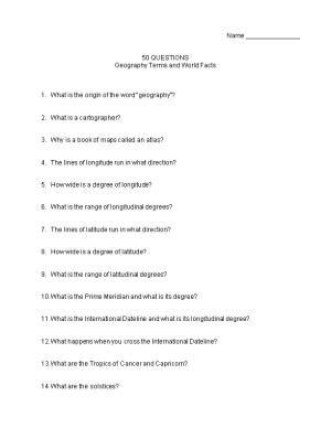 50 QUESTIONS Geography Terms and World Facts