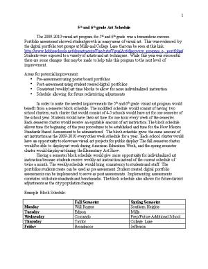 5Th and 6Th Grade Art Schedule Proposal