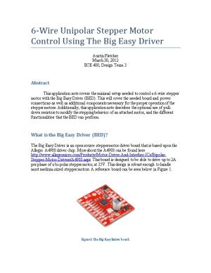 6-Wire Unipolar Stepper Motor Control Using the Big Easy Driver