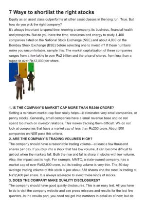 7 Ways to Shortlist the Right Stocks