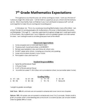 7Th Grade Mathematics Expectations