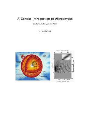A Concise Introduction to Astrophysics