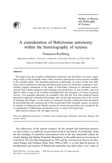 A Consideration of Babylonian Astronomy Within the Historiography of Science