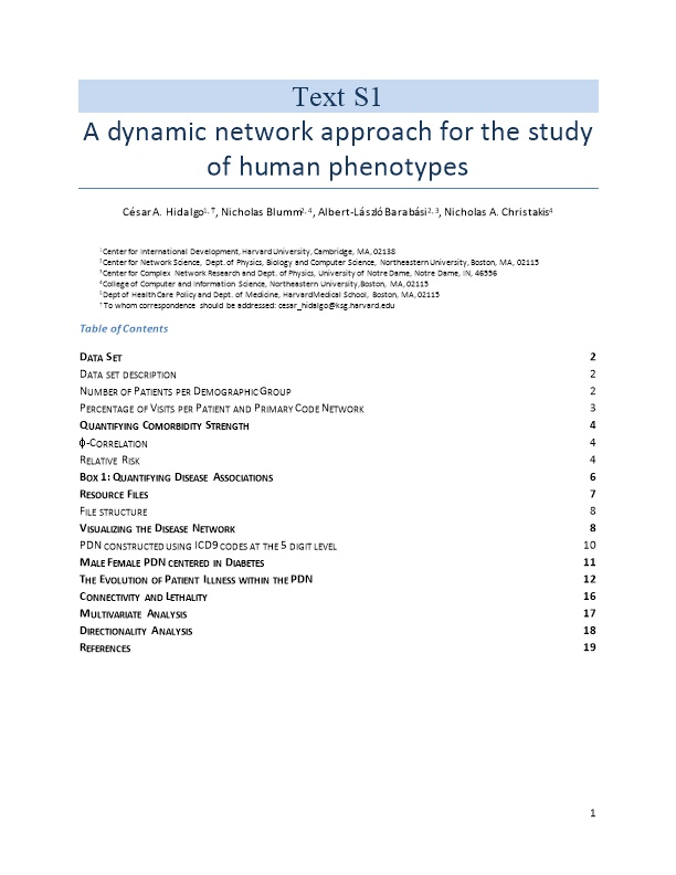 A Dynamic Network Approach for the Study of Human Phenotypes