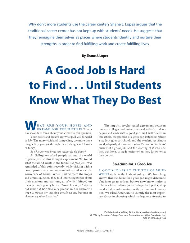 A Good Job Is Hard to Find Until Students Know What They Do Best