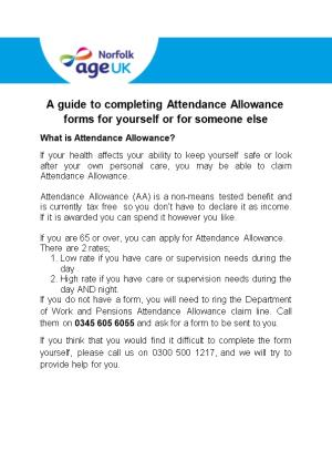 A Guide to Completing Attendance Allowance Forms for Yourself Or for Someone Else