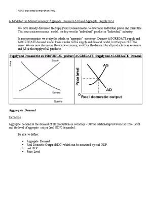 A Model of the Macro Economy: Aggregate Demand (AD) and Aggregate Supply (AS)