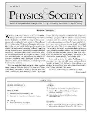 A Publication of the Forum on Physics and Society