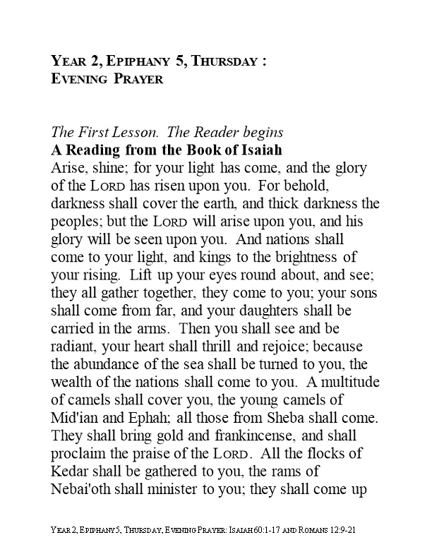 A Reading from the Book of Isaiah