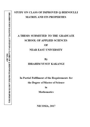 A Thesis Submitted to the Graduate