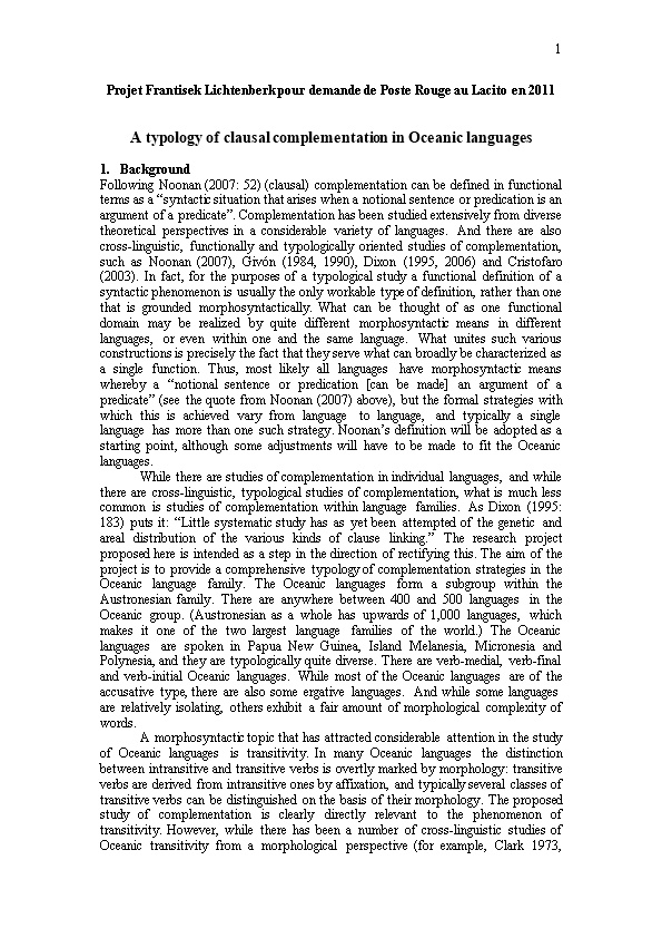 A Typology of Clausal Complementation in Oceanic Languages