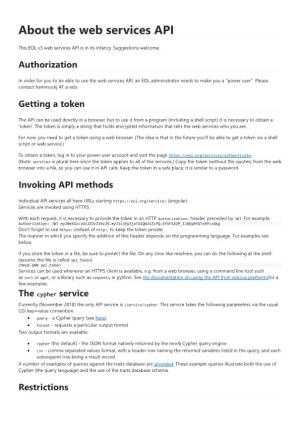 About the Web Services API