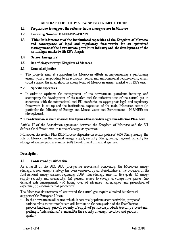 Abstract of the P3a Twinning Project Fiche