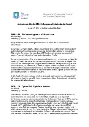 Abstracts and Titles for IEEE Colloquium on Optimisation for Control