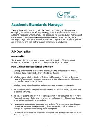 Academic Standards Manager
